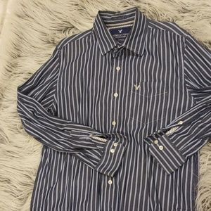 American Eage Navy&Blue Vertical Stripe Button Up